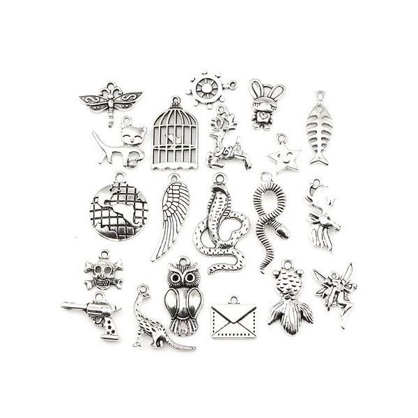 S110130603 PAX 1 set de 20 pendentifs, breloque Mixte metal couleur Argent Platine - Photo n°2