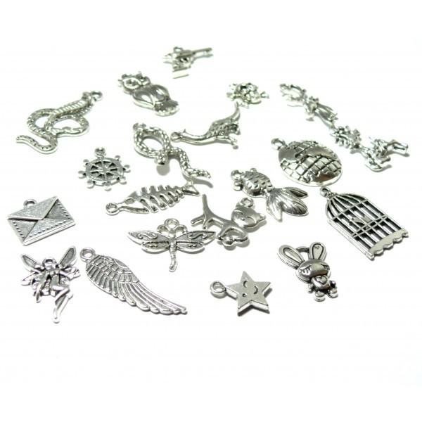S110130603 PAX 1 set de 20 pendentifs, breloque Mixte metal couleur Argent Platine - Photo n°1
