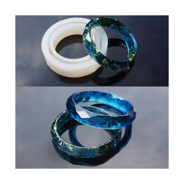 S110086532 PAX 1 MOULE EN SILICONE Bracelet Facetté 8.5cm epaisseur 17mm utilisation FIMO RESINE - Photo n°3