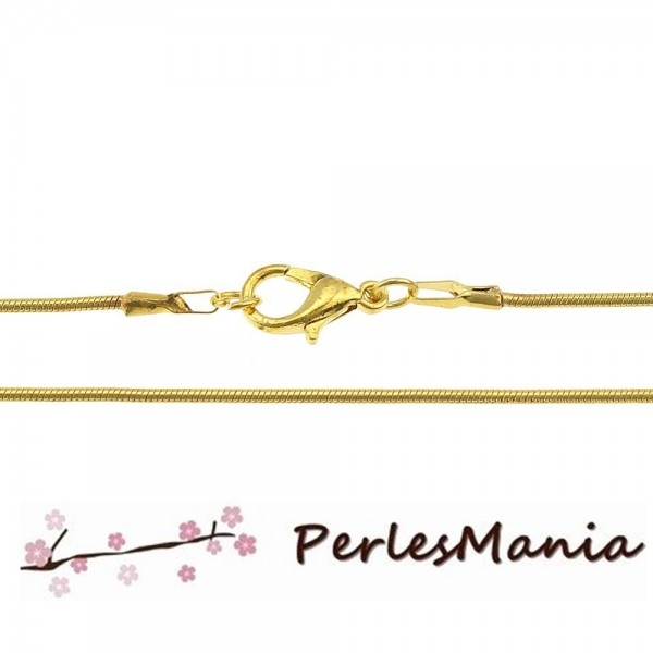 Apprêt bijoux 1 Collier chaine serpent 1.5 mm OR VIF avec fermoir - Photo n°1