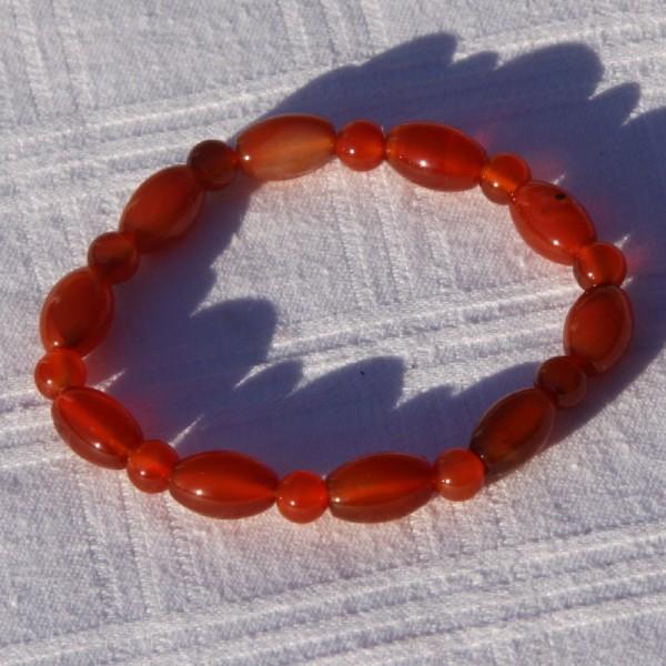 Bracelet en cornaline réglable, perles de 6 mm - Photo n°2