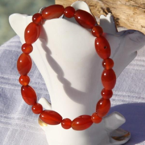 Bracelet en cornaline réglable, perles de 6 mm - Photo n°3