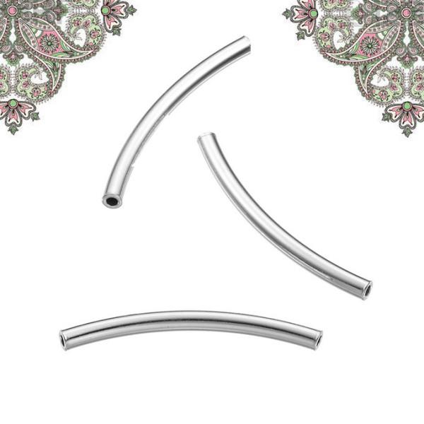 Argent 925- Breloque intercalaire courbé  25 mm *2 mm pour chaines et bracelet - Photo n°1