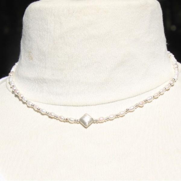 Collier perles d'eau douce et argent ( 42 cm et +) - Photo n°2