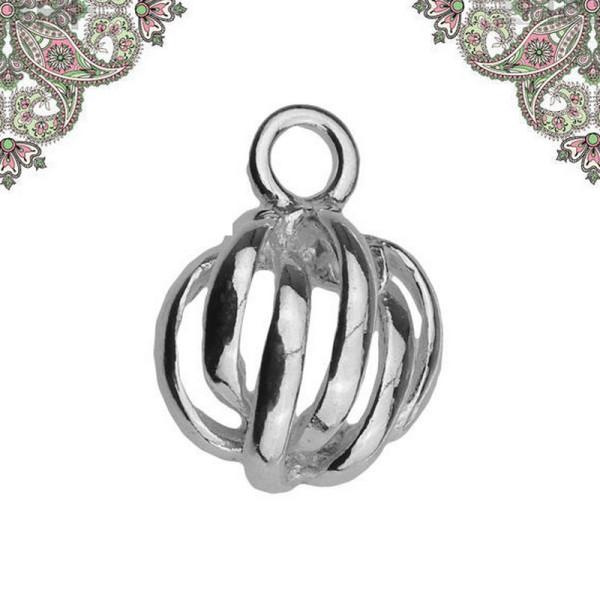 Argent 925 - Breloque pendentif demi-sphere  11,5 x 8,7 mm pour chaines et bracelets - Photo n°1