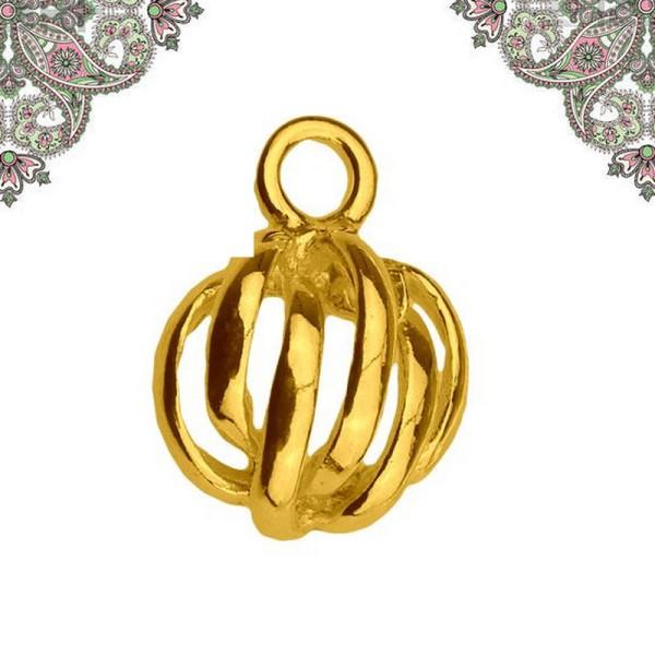 Argent 925 plaquage Or- Breloque Pendentif demi sphere 11,5x 8,7 pour chaines et bracelets - Photo n°1