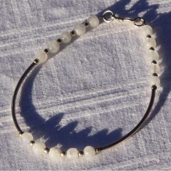 Bracelet pierre de lune et argent - Photo n°3