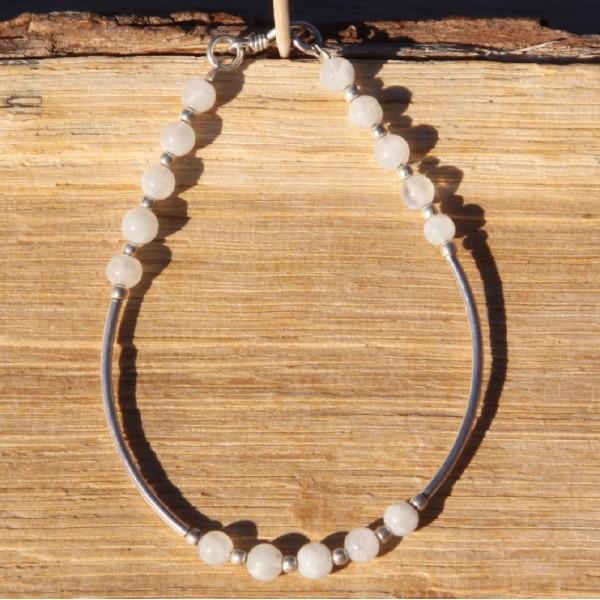 Bracelet pierre de lune et argent - Photo n°1