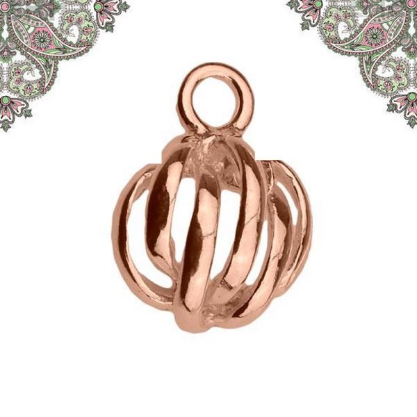 Argent 925 Plaquage Or Rose- Breloque demi sphère 11,5 x 8,7 pour chaines et bracelets - Photo n°1