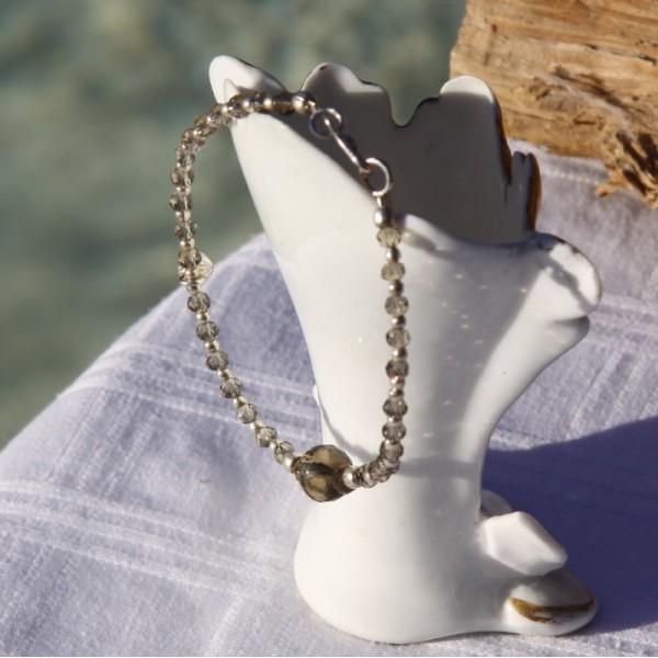 Bracelet quartz fumé et argent - Photo n°2