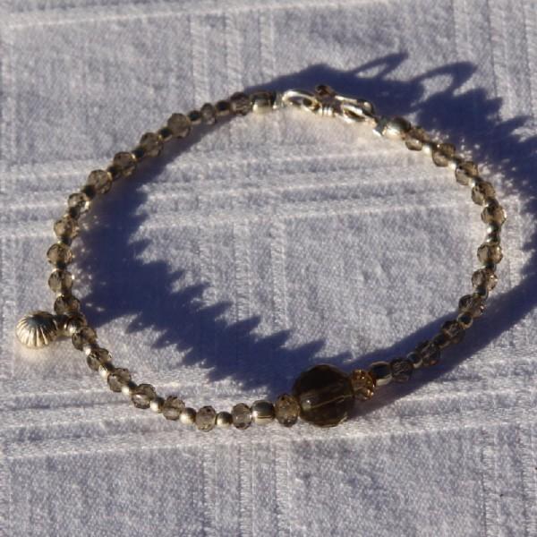 Bracelet quartz fumé et argent - Photo n°3
