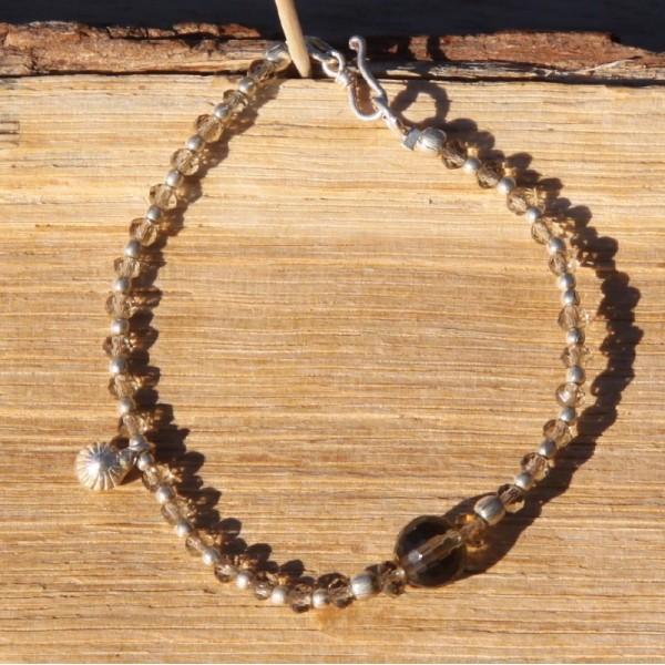 Bracelet quartz fumé et argent - Photo n°1