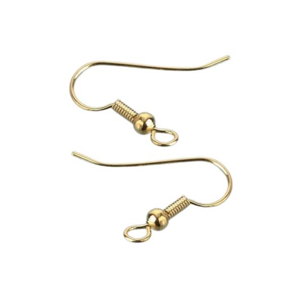 Gros lot de 50 paires de Boucle d'oreilles forme crochet en doré, haut. 19 mm, sans nickel - Photo n°2