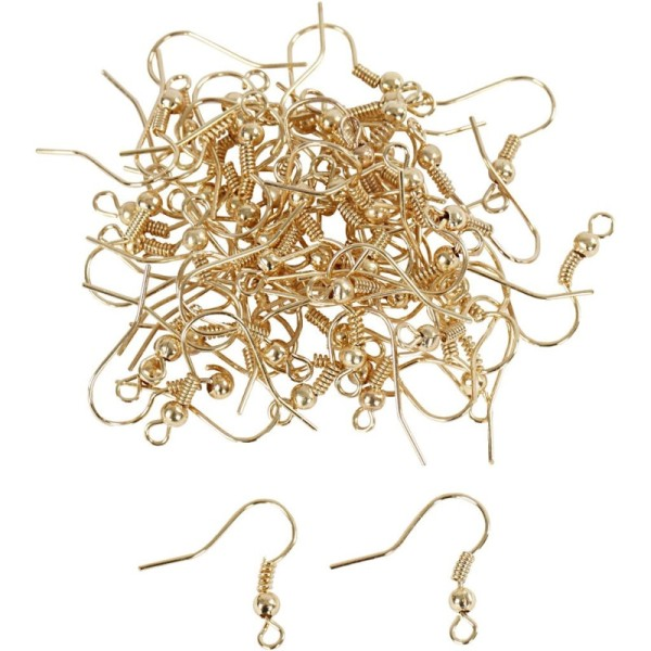 Gros lot de 50 paires de Boucle d'oreilles forme crochet en doré, haut. 19 mm, sans nickel - Photo n°1
