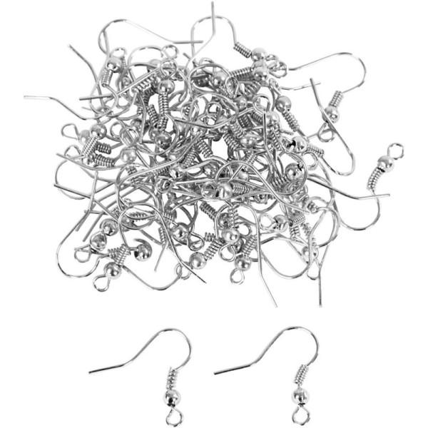Gros lot de 50 paires de Boucle d'oreilles forme crochet en argenté, haut. 19 mm, sans nickel - Photo n°1