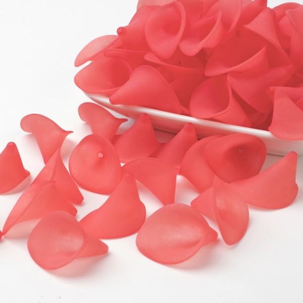 Coupelles fleur acrylique givré 20 mm rouge corail x 10 - Photo n°1