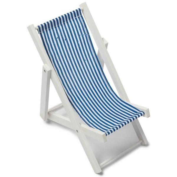 Grande Chaise Longue En Bois Blanc Transat Decoratif Tissu A Rayures Bleu Clair 28