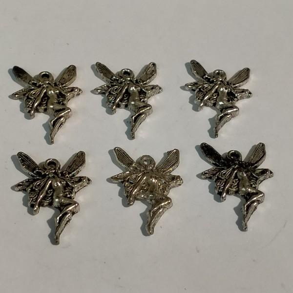 Breloques, 6 elfes en métal argenté, 1.5 cm - Photo n°1