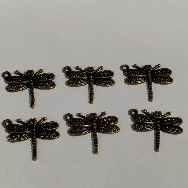 Breloques, 6  libellules en bronze, 1.5 cm - Photo n°1