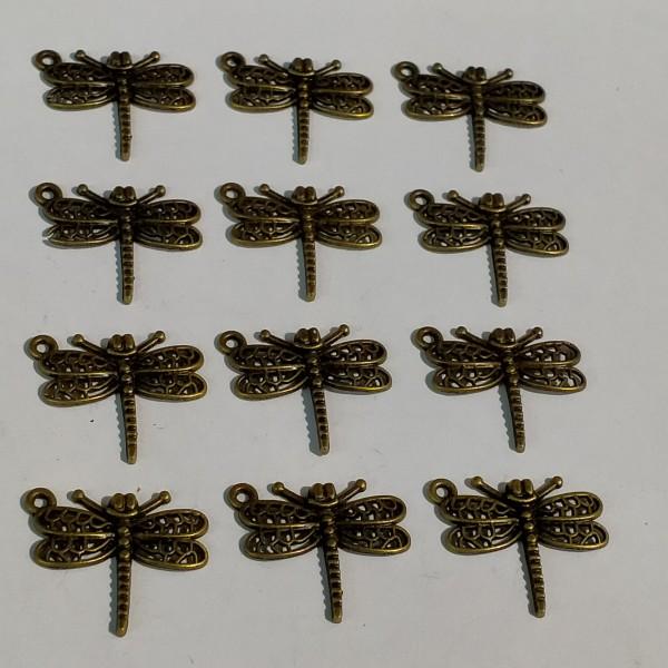 Breloque, 12 libellules en bronze, 1.5 cm - Photo n°1