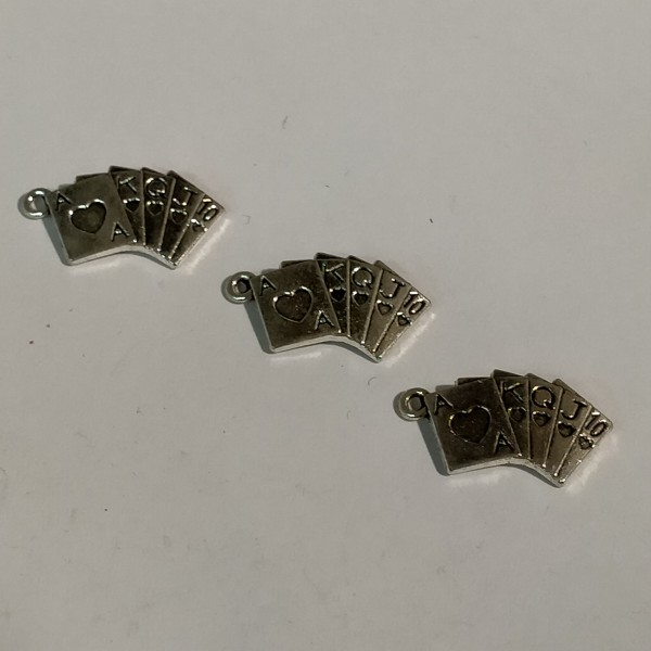 Breloque, 3 jeux de cartes en éventail en métal blanc, 2 cm - Photo n°1