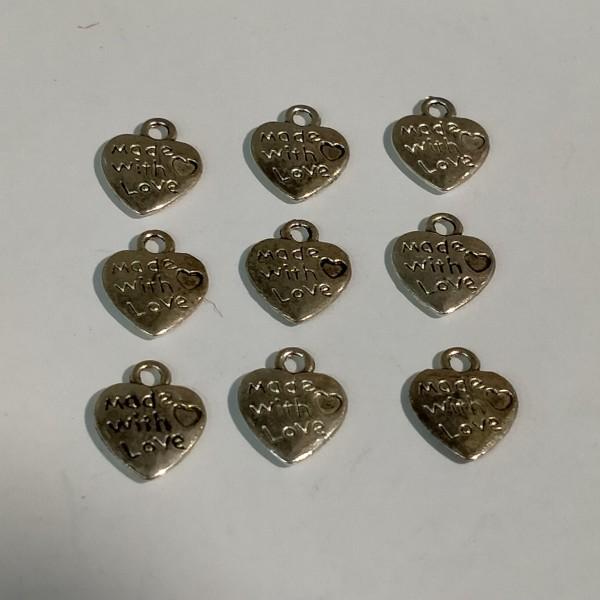 Breloque, 9 coeurs  d'amour en métal blanc, 2 cm - Photo n°1