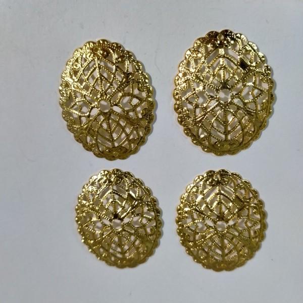 Estampe breloque, ovale en metal jaune, 3 cm - Photo n°1