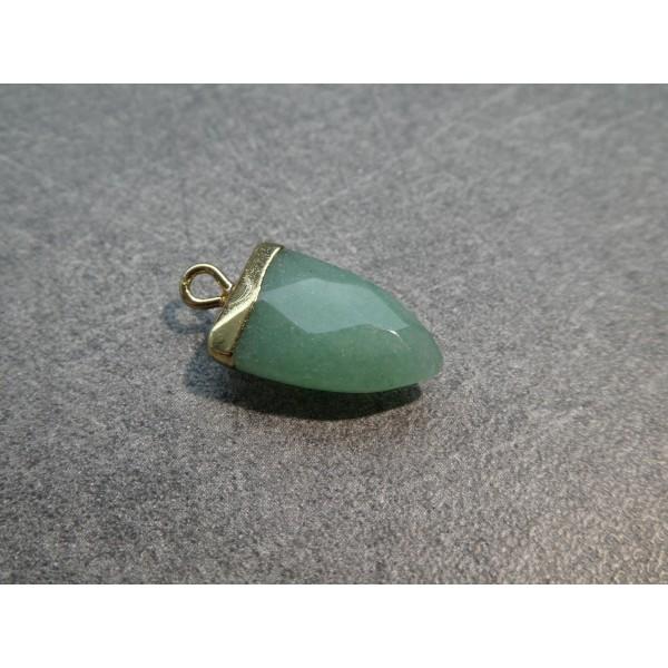 1 Pendentif forme pointe 19*13mm Amazonite verte et laiton doré - Photo n°2