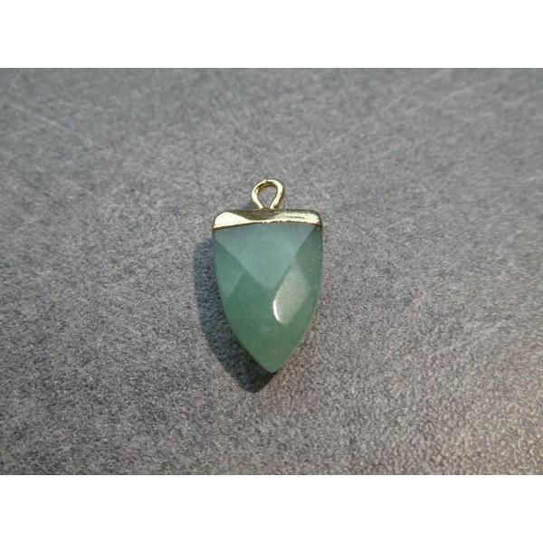 1 Pendentif forme pointe 19*13mm Amazonite verte et laiton doré - Photo n°1