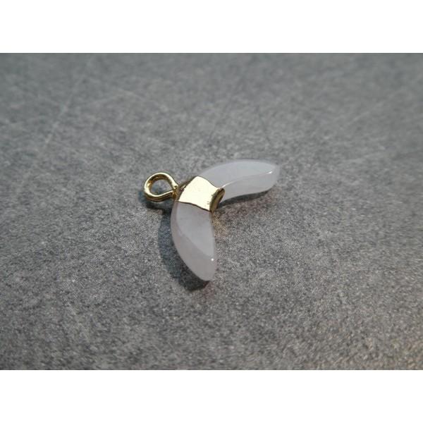 1 Pendentif forme demi-lune 16*12mm en Jade blanche et laiton doré - Photo n°2