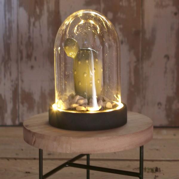 Cloche en verre avec socle noir lumineux- 10 x 15,5 cm - Photo n°2
