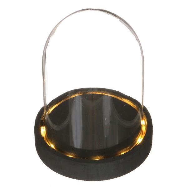 Cloche en verre avec socle noir lumineux- 10 x 15,5 cm - Photo n°1