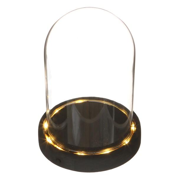 Cloche en verre avec socle noir lumineux- 12 x 16,5 cm - Photo n°1