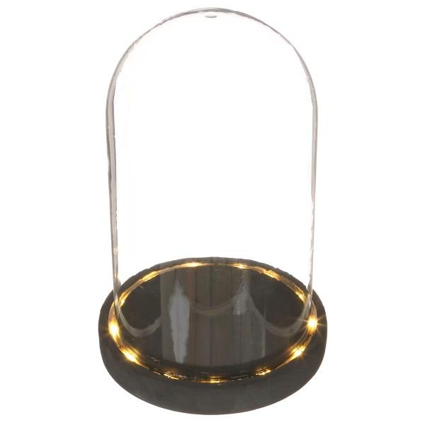 Cloche en verre avec socle noir lumineux- 14 x 21,5 cm - Photo n°1