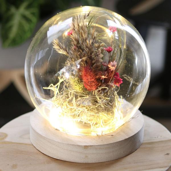 Cloche boule en verre avec socle lumineux - 13 x 14 cm - Photo n°2