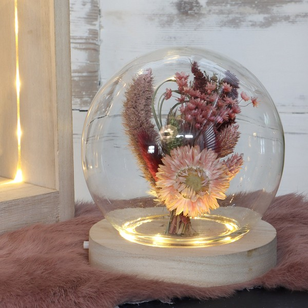 Cloche boule en verre avec socle lumineux - 13 x 14 cm - Photo n°3