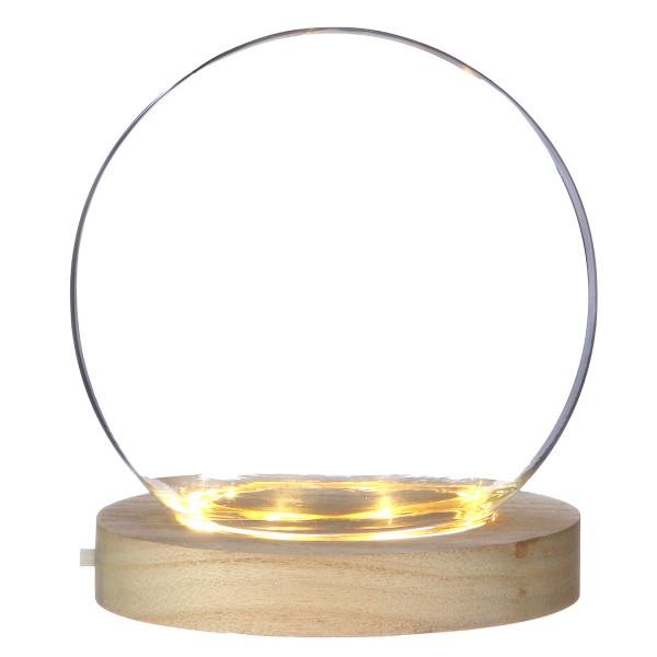 Cloche boule en verre avec socle lumineux - 13 x 14 cm - Photo n°1
