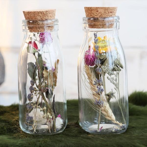 Bouteille décorative Fleurs séchées - 14 x 6 cm - 1 pce - Photo n°2