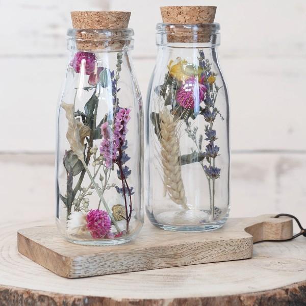 Bouteille décorative Fleurs séchées - 14 x 6 cm - 1 pce - Photo n°3