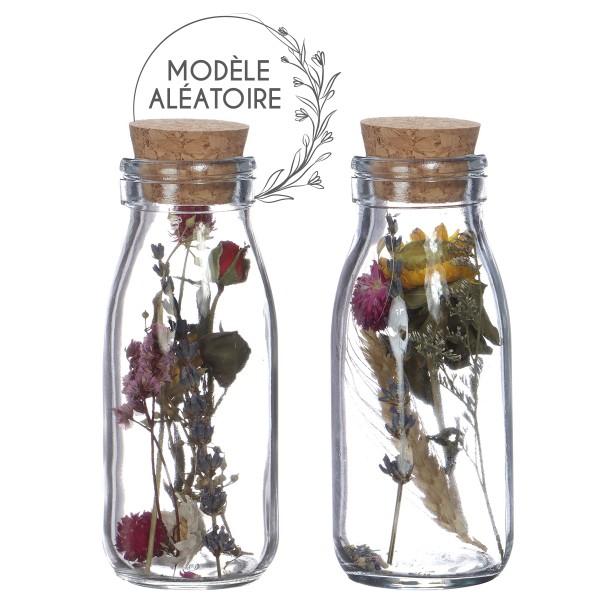 Bouteille décorative Fleurs séchées - 14 x 6 cm - 1 pce - Photo n°1
