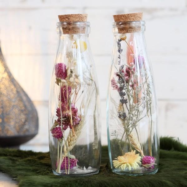 Bouteille décorative Fleurs séchées - 21 x 7 cm - 1 pce - Photo n°2