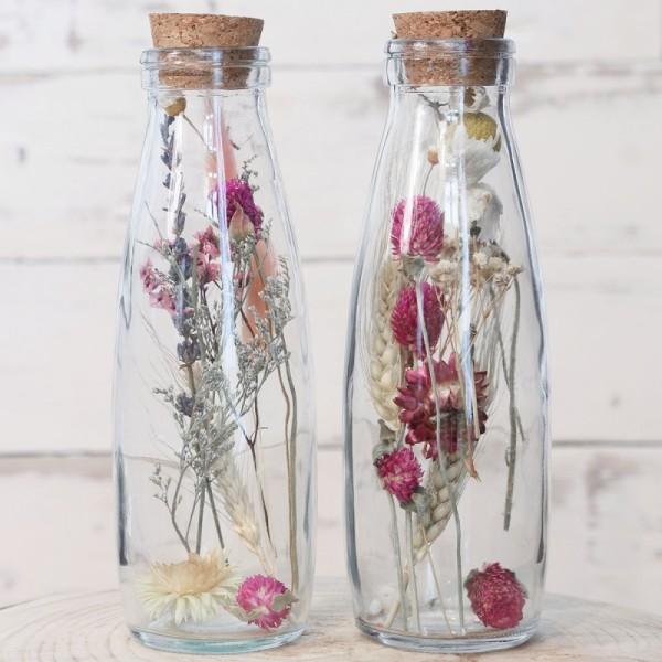 Bouteille décorative Fleurs séchées - 21 x 7 cm - 1 pce - Photo n°3