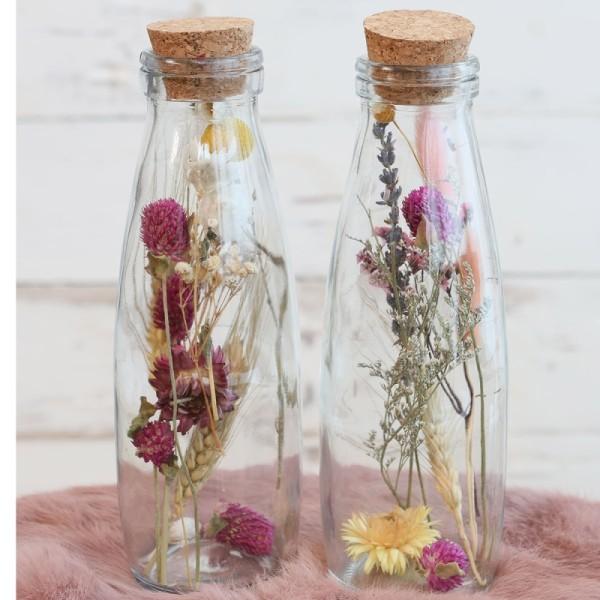 Bouteille décorative Fleurs séchées - 21 x 7 cm - 1 pce - Photo n°4