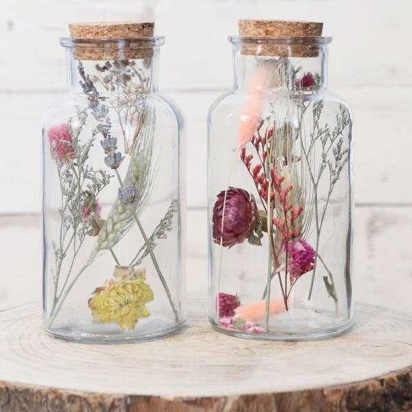 Bouteille décorative Fleurs séchées - 16 x 8 cm - 1 pce - Photo n°2