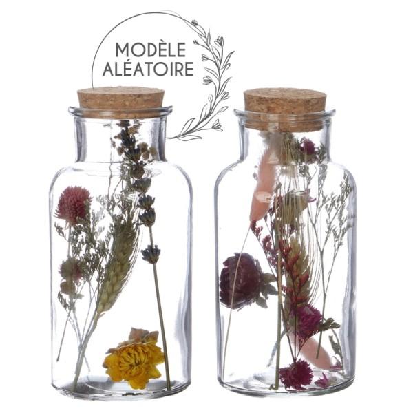 Bouteille décorative Fleurs séchées - 16 x 8 cm - 1 pce - Photo n°1