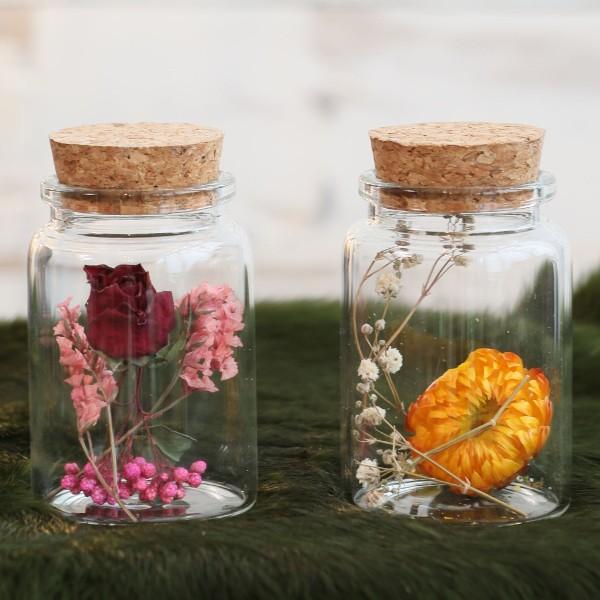 Pot en verre décoratif Fleurs séchées - 7,5 x 4,5 cm - 1 pce - Photo n°2