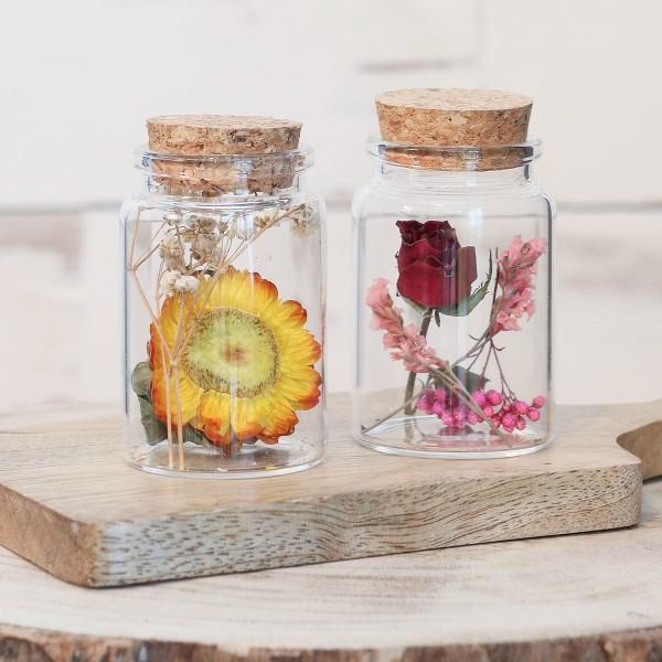 Pot en verre décoratif Fleurs séchées - 7,5 x 4,5 cm - 1 pce - Photo n°3