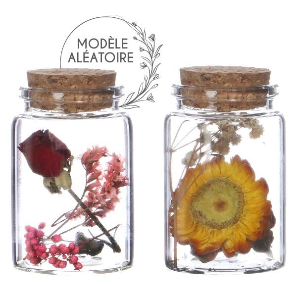 Pot en verre décoratif Fleurs séchées - 7,5 x 4,5 cm - 1 pce - Photo n°1
