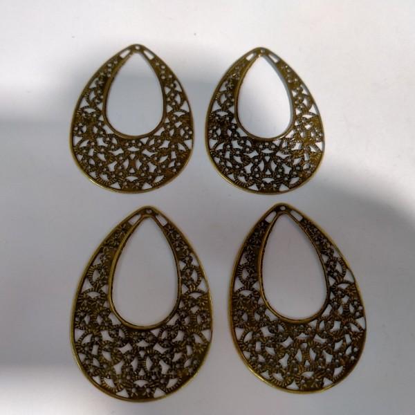 Breloque, 4 estampes gouttes 5.5cm métal bronze - Photo n°1