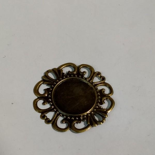 Breloque,  estampe ronde 3.5cm métal bronze - Photo n°1